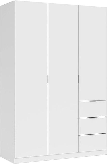 Habitdesign Armario Ropero de Tres Puertas y Tres cajones, Acabado en Color Blanco, Medidas: 135 cm (Ancho) x 200 cm (Alto) x 52 cm (Fondo)