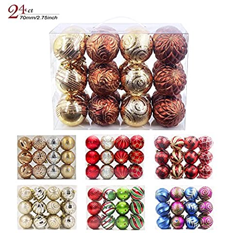 Valery Madelyn Christmas Ball Ornaments Woodland Shatterproof , 24 Set, 70mm/2.75