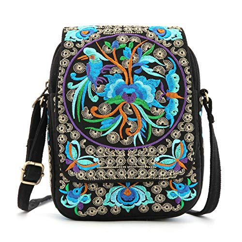 Goodhan Vintage Printed Handmade Women Mini Crossbody Bag Cellphone Pouch Small Handbag Coin Purse (Style 01: BIGGER Version - Blue Multicolor)