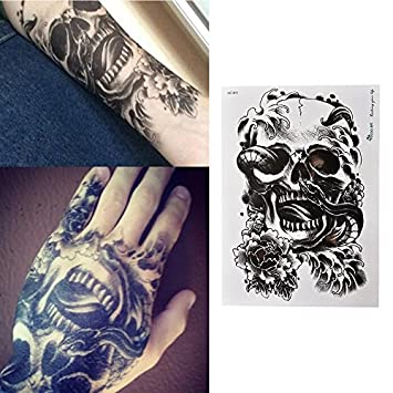 8f6705ac02895 Amazon.com : Waterproof Black Scary Skull Temporary Tattoo Large Arm Body  Art Tattoos Sticker : Beauty