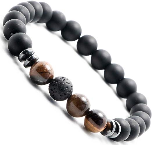 Perlenarmband Onyx Perlen Schwarz Ultra Damen Herren Armband Bracelet
