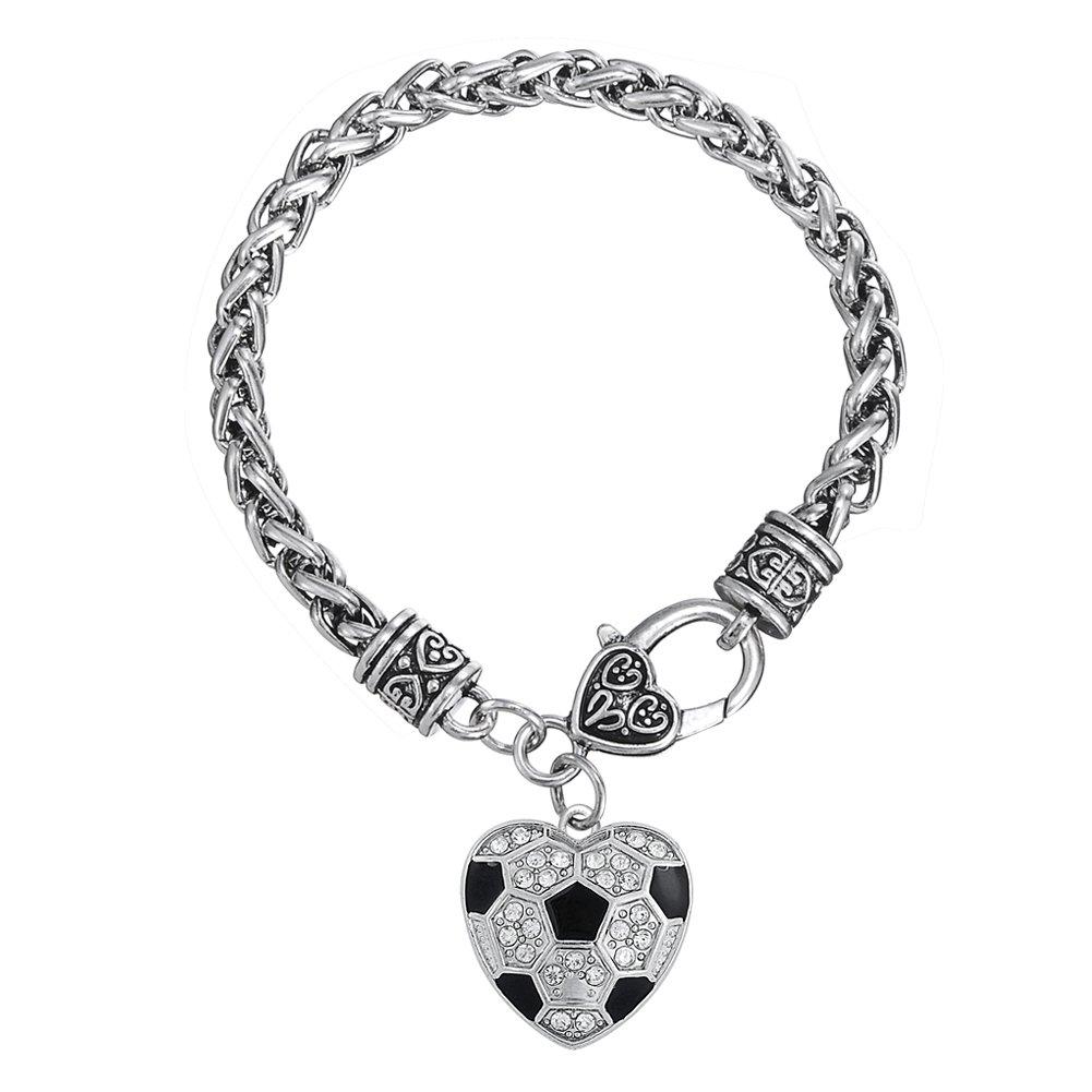 Black Enamel White Crystal Stone Heart Shape Soccer Ball Bracelet Sports Jewelry YI WU KE JI