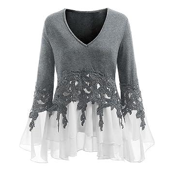 f472d08dd890e Clearance Sale! Kintaz Fashion Womens Plus Size Tops Ruffle Flowy Lace  Chiffon V-neck