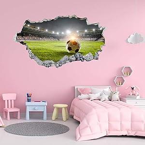 EricauBird Soccer Stadium 3D Wall Sticker, Home Wall Decal, Decor for Bedroom Kitchen Car Laptop, Nursery Wall Decor, Removable Vinyl Sticker for Anniversary Holiday Housewarming