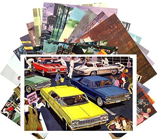Postcard Set 24pcs Classic Cars America Sixties Vintage Ads Illustration Adverts