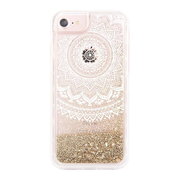 online retailer 4b511 f8193 uCOLOR Gold Glitter Damask Floral Case for iPhone 6S /iPhone 6, iPhone 7  Case iPhone 8 Case Waterfall Clear Protective Case for iPhone8/ 7/6S/6(4.7