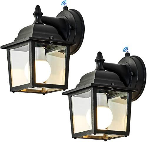 LPINYE Dusk to Dawn Sensor Outdoor Wall Lanterns 2 Pack Exterior Wall Sconce Porch Light Fixture Anti-Rust Waterproof Matte Black Wall Mount Lamp