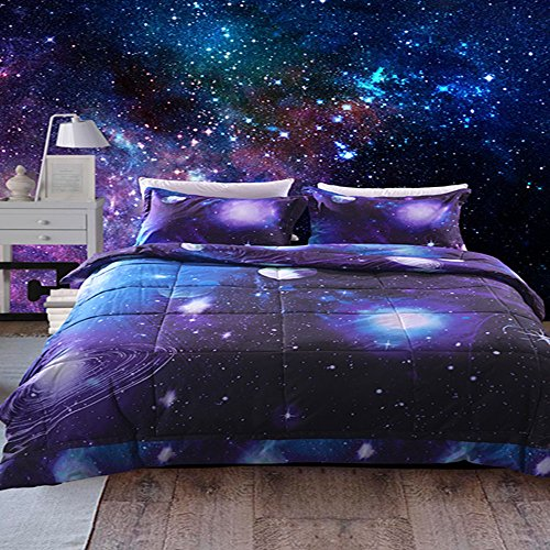 Juwenin bedding, Galaxy Down Alternative 3 Pieces Comforter Set with 2 Matching Pillow Covers All Season, Fluffy, Warm, Soft & Hypoallergenic (Twin, xk007)