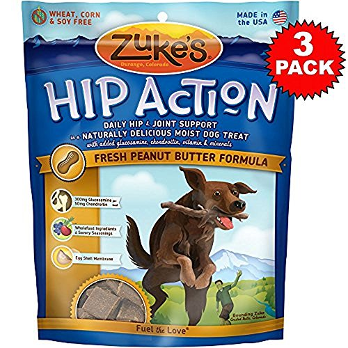 3 Packs Zuke's Hip Action with added Glucosamine and Chondroitin - PEANUT BUTTER (18 - Action Dog Zukes Hip Treats