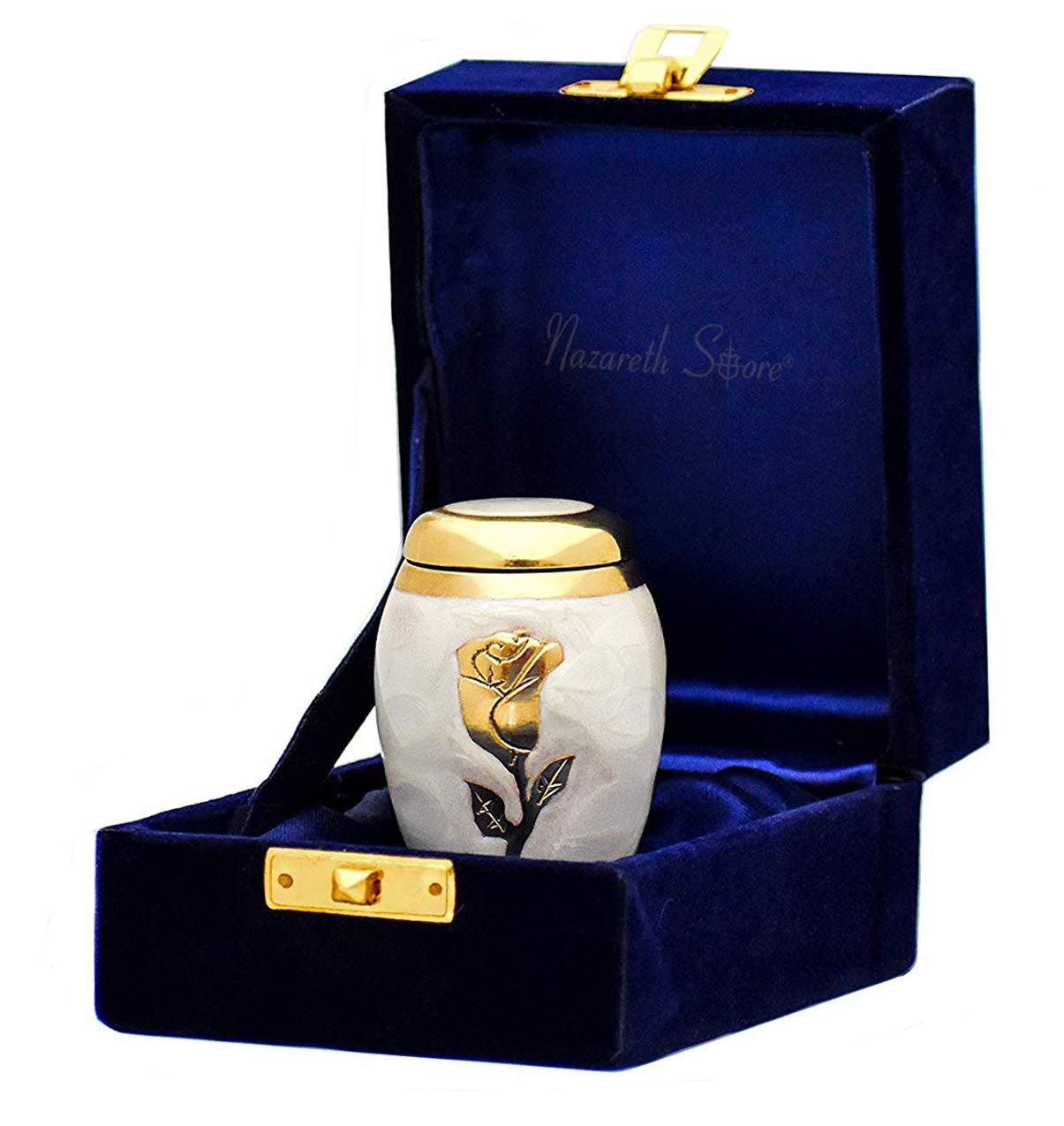Hand Made 100/% Brass Miniature Memorial Funeral Urns for Sharing Ashes Nazareth Store Beautiful Small Keepsake Cremation Urn for Human Ashes Elite Pearl White and Gold Rose Flower with Velvet Bag
