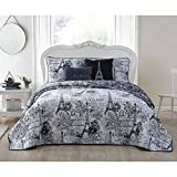 5pc Girls Black Grey I Love Paris Quilt Queen Set, Eiffel Tower Beeding France Inspired French Pattern Floral Flowers Artistic City Love, Butterflies Microfiber Polyester