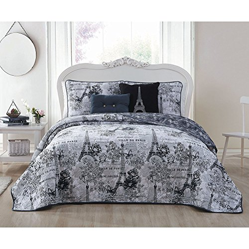 5pc Girls Black Grey I Love Paris Quilt King Set, Eiffel Tower Beeding France Inspired French Pattern Floral Flowers Artistic City Love, Butterflies Microfiber Polyester by Unknown