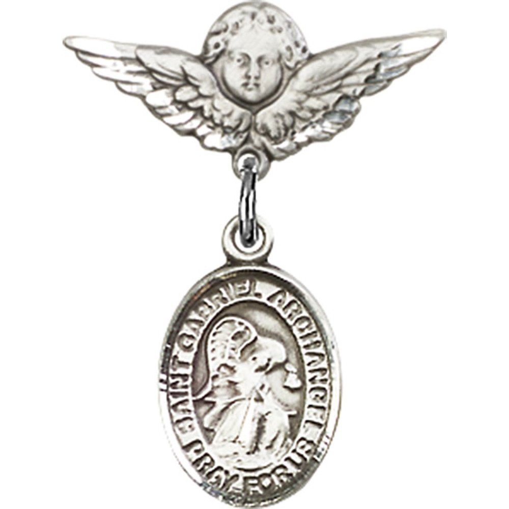 Sterling Silver Baby Badge with St. Gabriel the Archangel Charm and Angel w/Wings Badge Pin 7/8 X 3/4 inches
