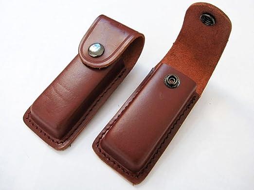 Funda Estuche de PIEL cuero para Navaja con Cierre por Broche y sistema para amarre a Cinturon Color Marron 4420: Amazon.es: Hogar