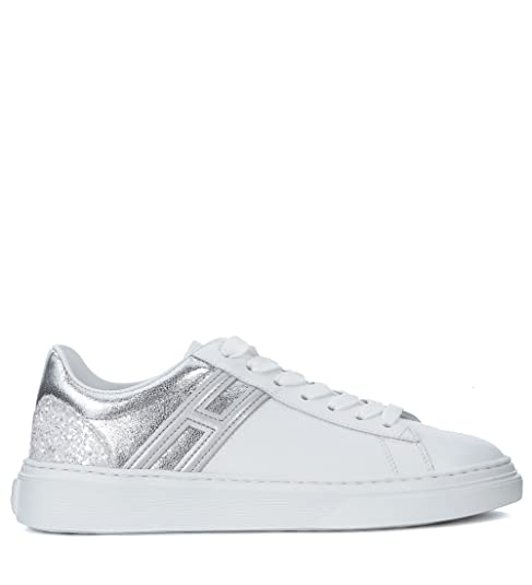 Sneaker Hogan H365 in pelle bianca e argento con glitter