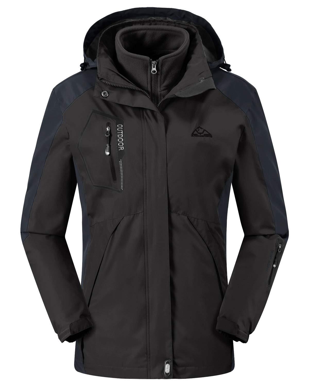 Rdruko Women's Winter 3-in-1 Waterproof Shell Snowboarding Mountain Hiking Rain Jacket(Black,US S) by Rdruko