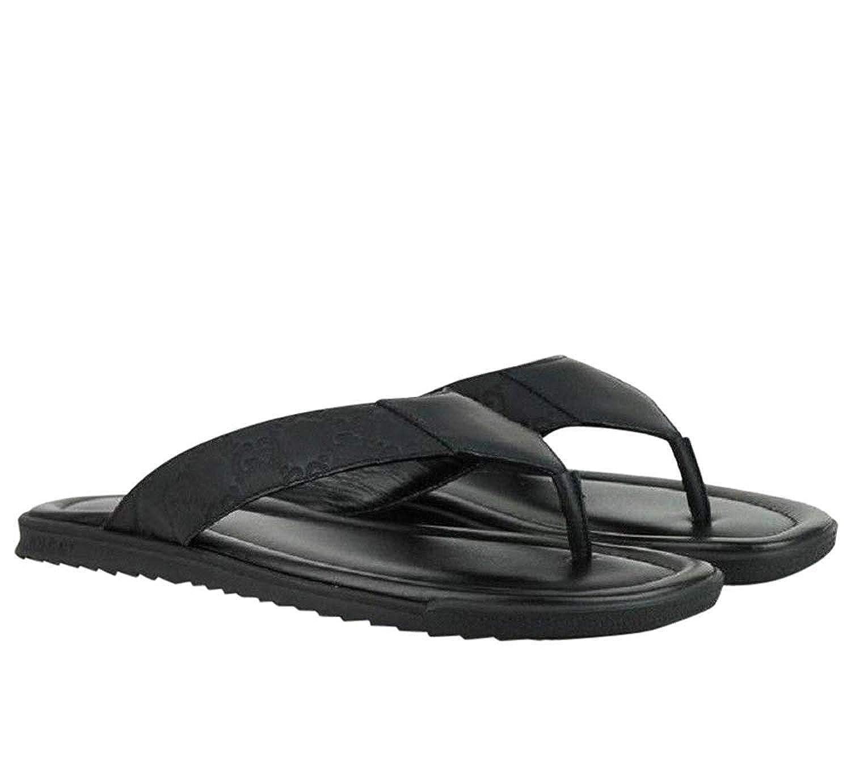 eae6de7f712 Amazon.com  Gucci Guccisisma Pattern Black Leather Rubber Sandals 353765  1000  Shoes