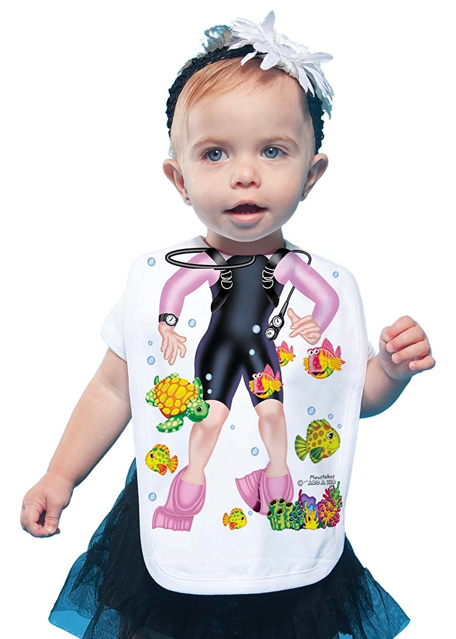 Just Add A Kid Baby Girl's Scuba Girl Pink 379 Baby Bib 0-6 Months White