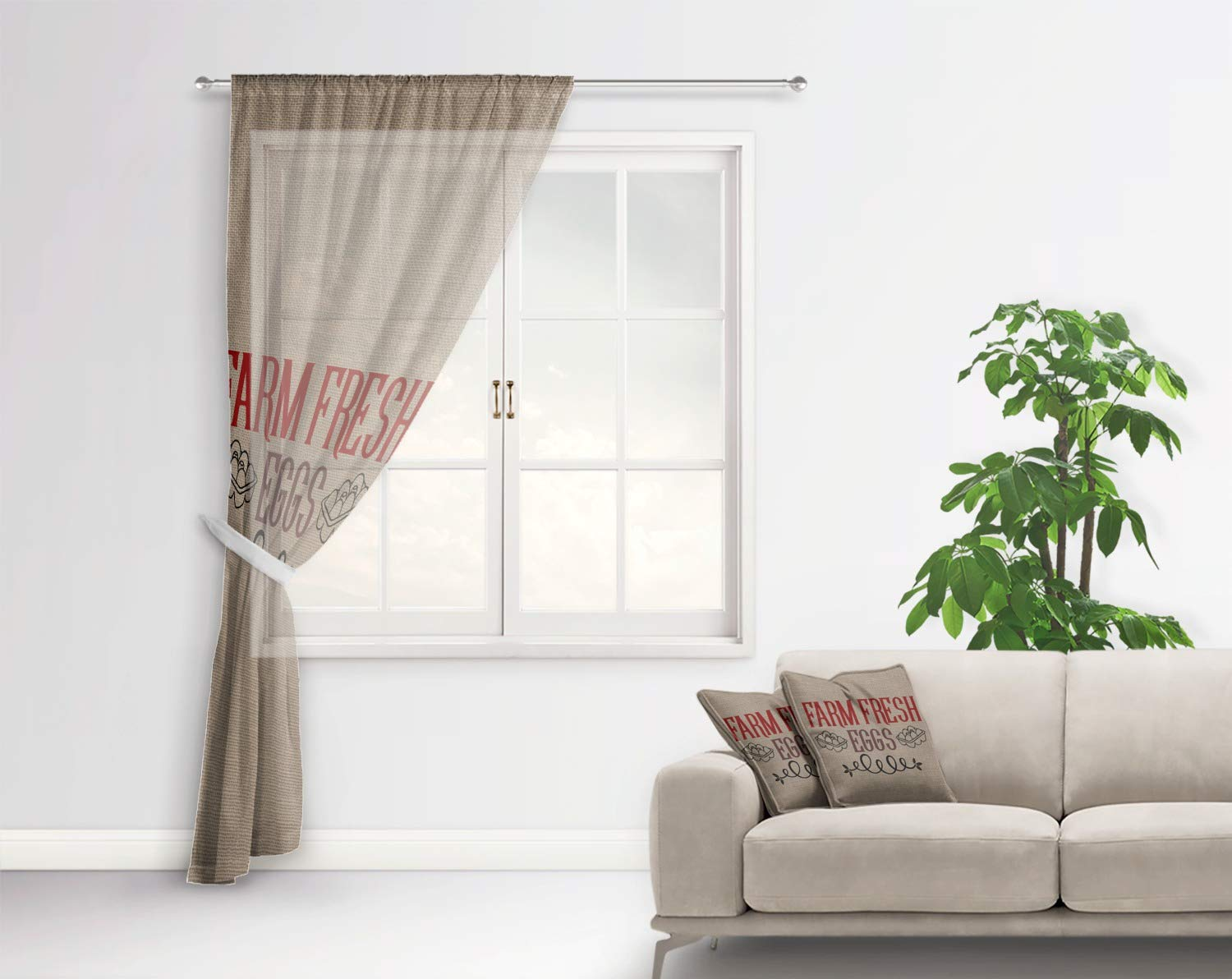 Amazon.com: RNK Shops Farm Quotes Sheer Curtain - 50