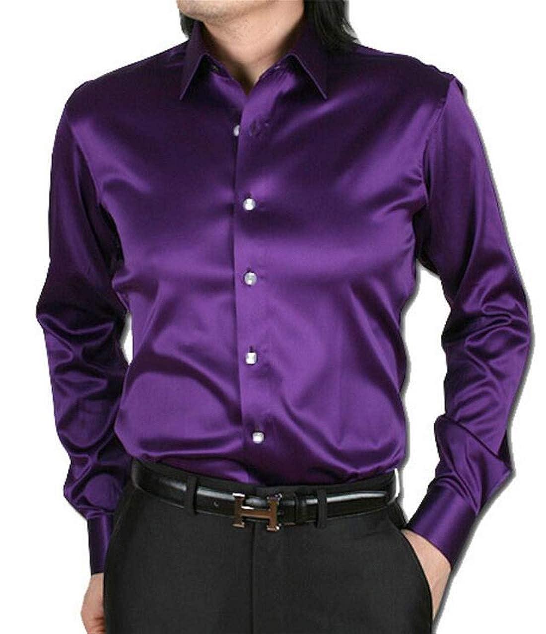 KLJR Men Slim Fit Shiny Satin Silk Like Long Sleeve Dress Shirts
