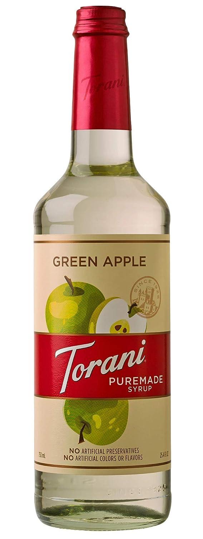Torani Puremade Syrup, Green Apple Flavor, Glass Bottle, Natural Flavors, 25.4 Fl. Oz., 750 mL