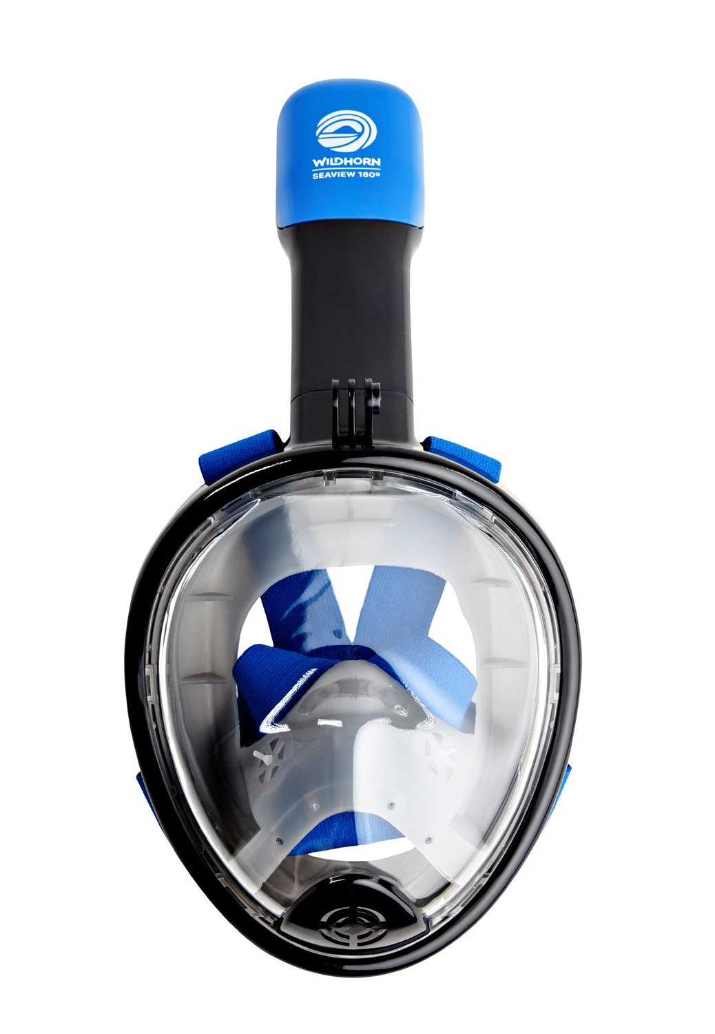Seaview 180° GoPro Compatible Snorkel Mask- Panoramic Full Face Design. See More With Larger Viewing Area Than Traditional Masks. Prevents Gag Reflex with Tubeless Design (Navy, XS) by WildHorn Outfitters (Image #4)