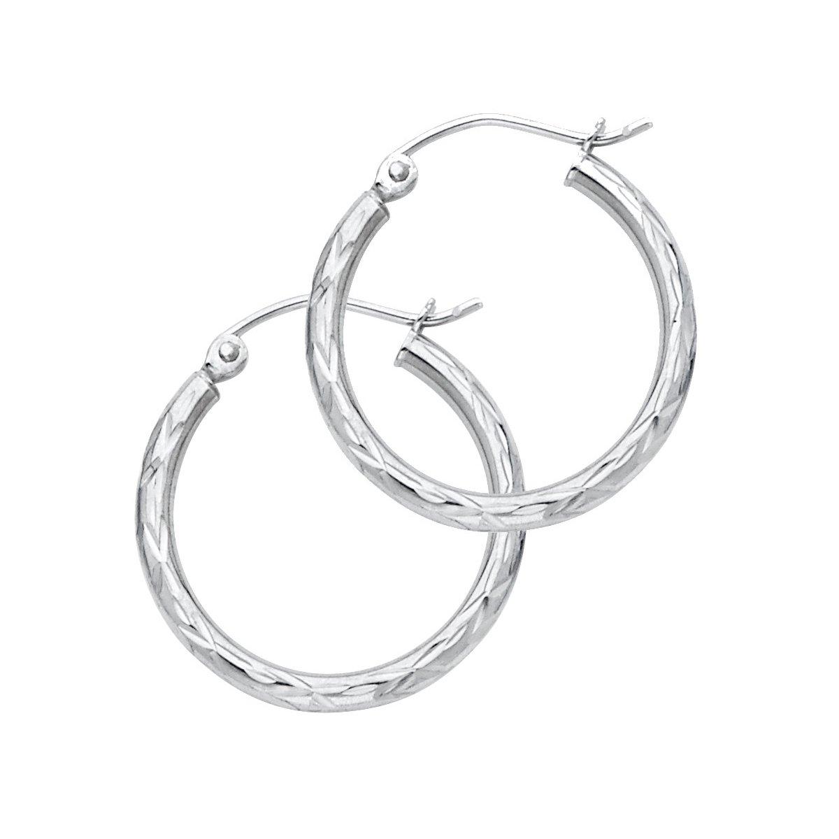 Diameter - 20 MM 14K White Gold 2mm Diamond Cut Hoop Earrings