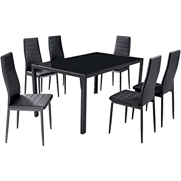 GFW Houston Glass Dining Table With 6 Chairs   PVC Dining Set   6 Seater  Dining