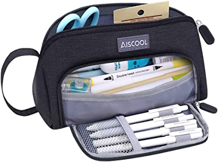 Aiscool Estuche para lápices de gran capacidad, gran capacidad para guardar bolígrafos, estuche, organizador de artículos de papelería con cremallera para la escuela y suministros de oficina (Negro): Amazon.es: Oficina y papelería