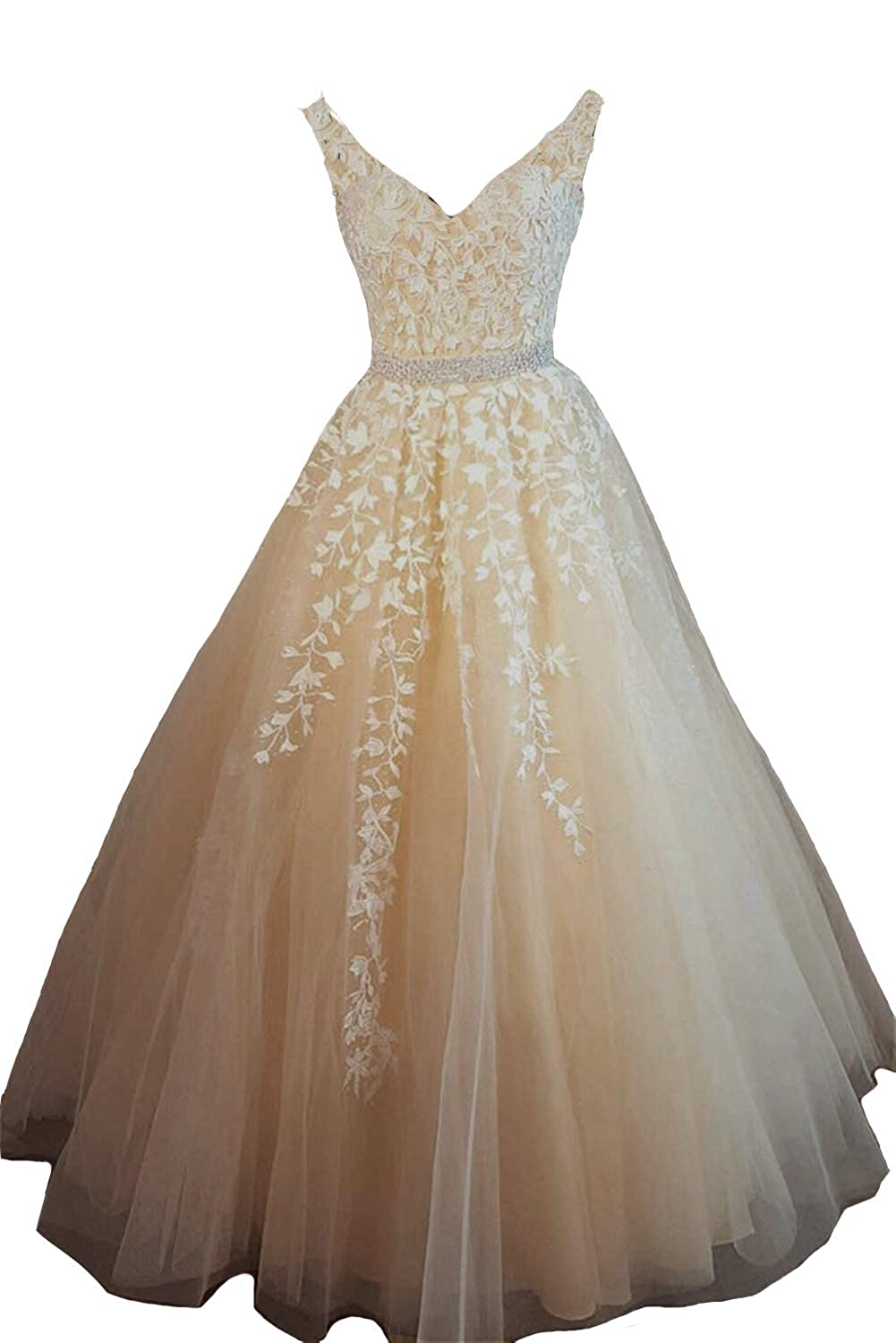 White Champagne Lemai Women V Neck Beaded Lace Appliques Tulle Long Formal Evening Prom Dresses