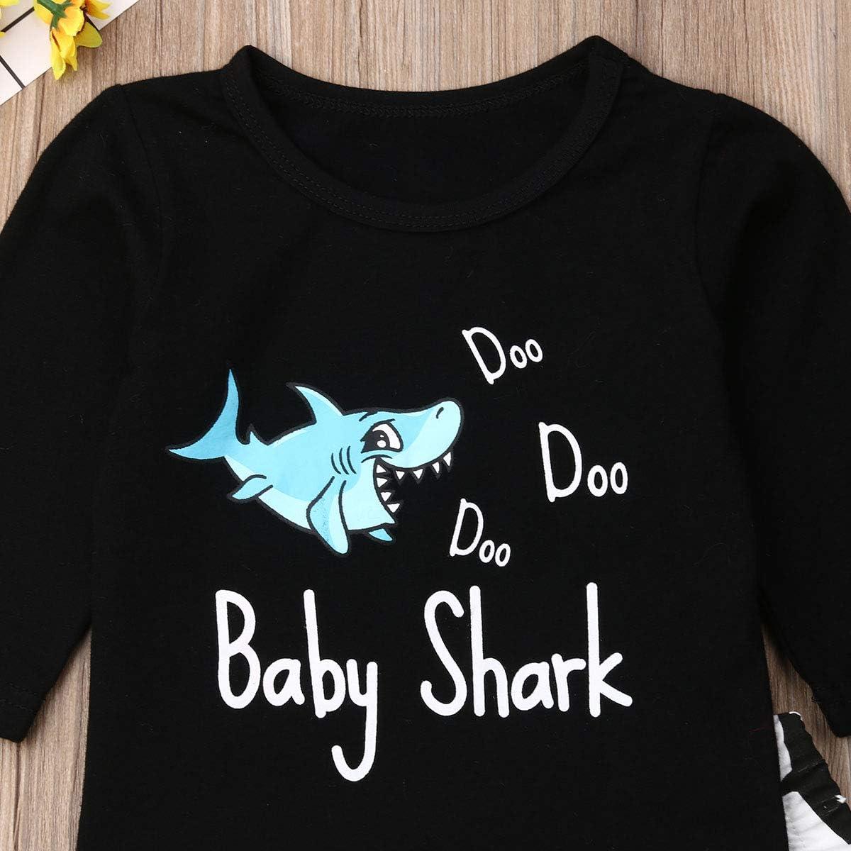 Sendewoner Infant Baby Boy Shark Print Long Sleeve T-Shirt Top Leggings Pants 2PCs Cartoon Outfits Set