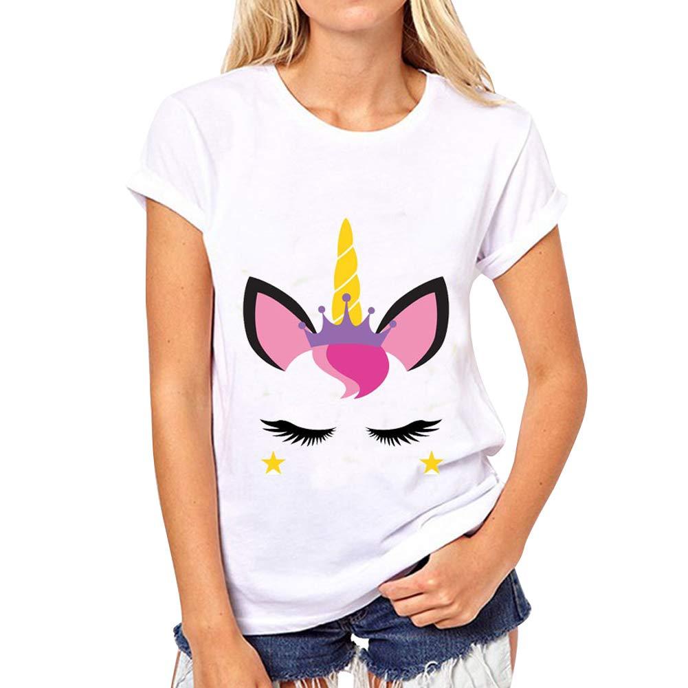 LAIKETE T Shirt Unicorno Donna Stampa Animali Estivi Girocollo Pullover Camicetta Casual Sweatshirt Tumblr Ragazza Sportive Blusa Tops Tinta Unita