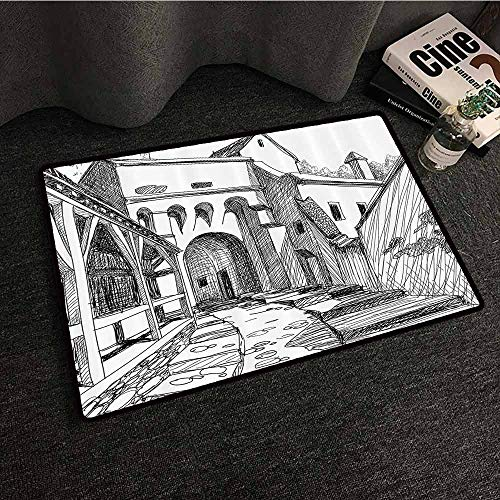 Medieval Decor Collection Door mat Customization Medieval Citadel Sketch House of Legendary Vampire Dracula Old Mystical Tales Art Work W35 xL59 Black White