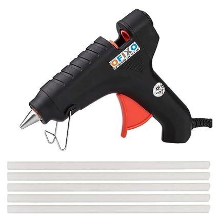 OFIXO 40W with 5 Glue Sticks Hot Melt Glue Gun Black Color for Art and Crafts Wood, Box Standard Temperature Corded Glue Gun