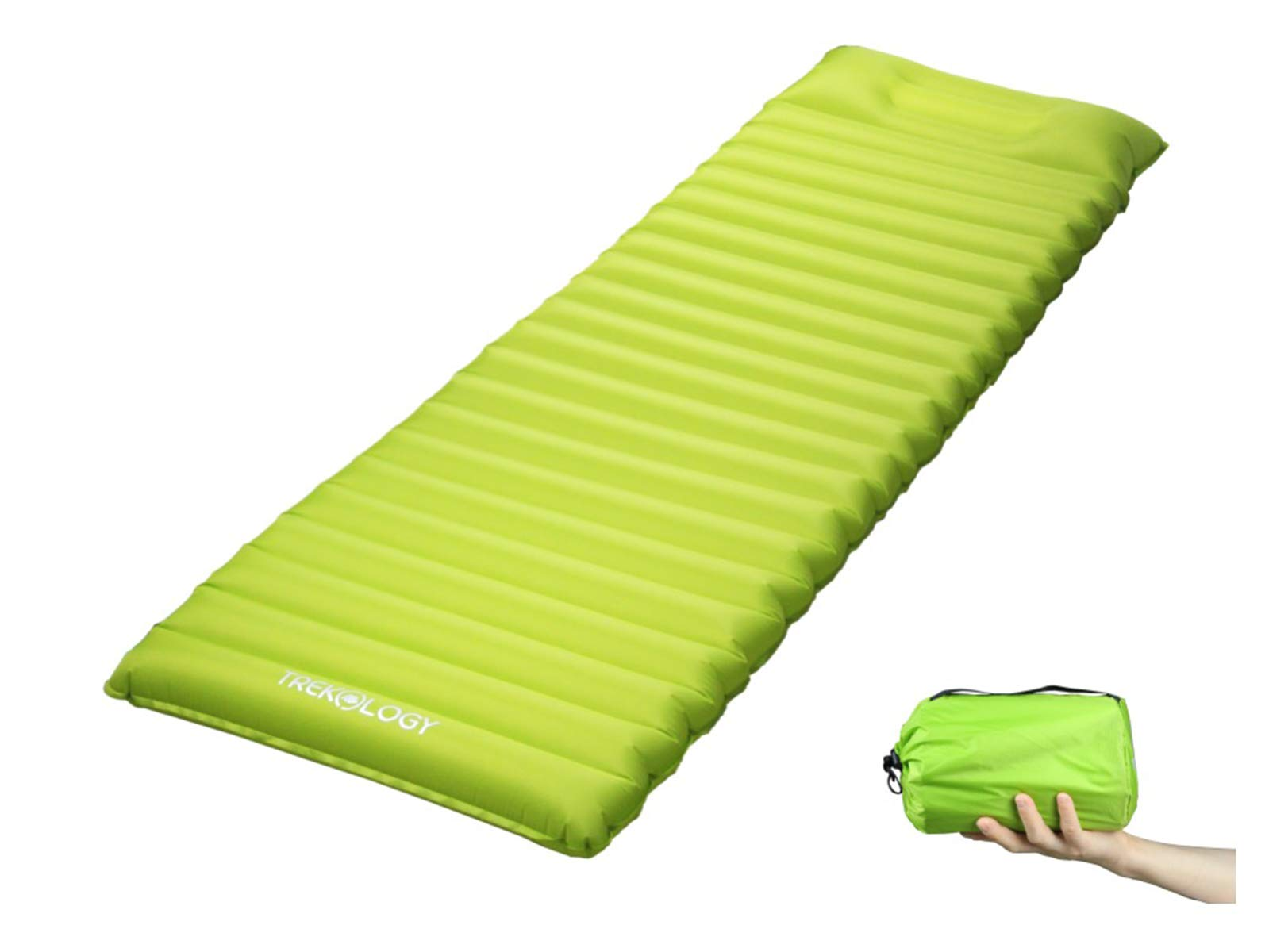 Trekology Ultralight Sleeping Pad, Inflating Camping Mattress w/Air Pump Dry Sack Bag - Compact Lightweight Camp Mat, Inflatable Backpacking Gear as Tent Pads (Green with Built-in Pillow) by Trekology
