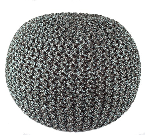 Cotton Craft - Hand Knitted Cable Style Tweed Dori Pouf - Spa/Chocolate - Floor Ottoman - 100% Cotton Braid Cord - Handmade & Hand Stitched - Truly one of a ()
