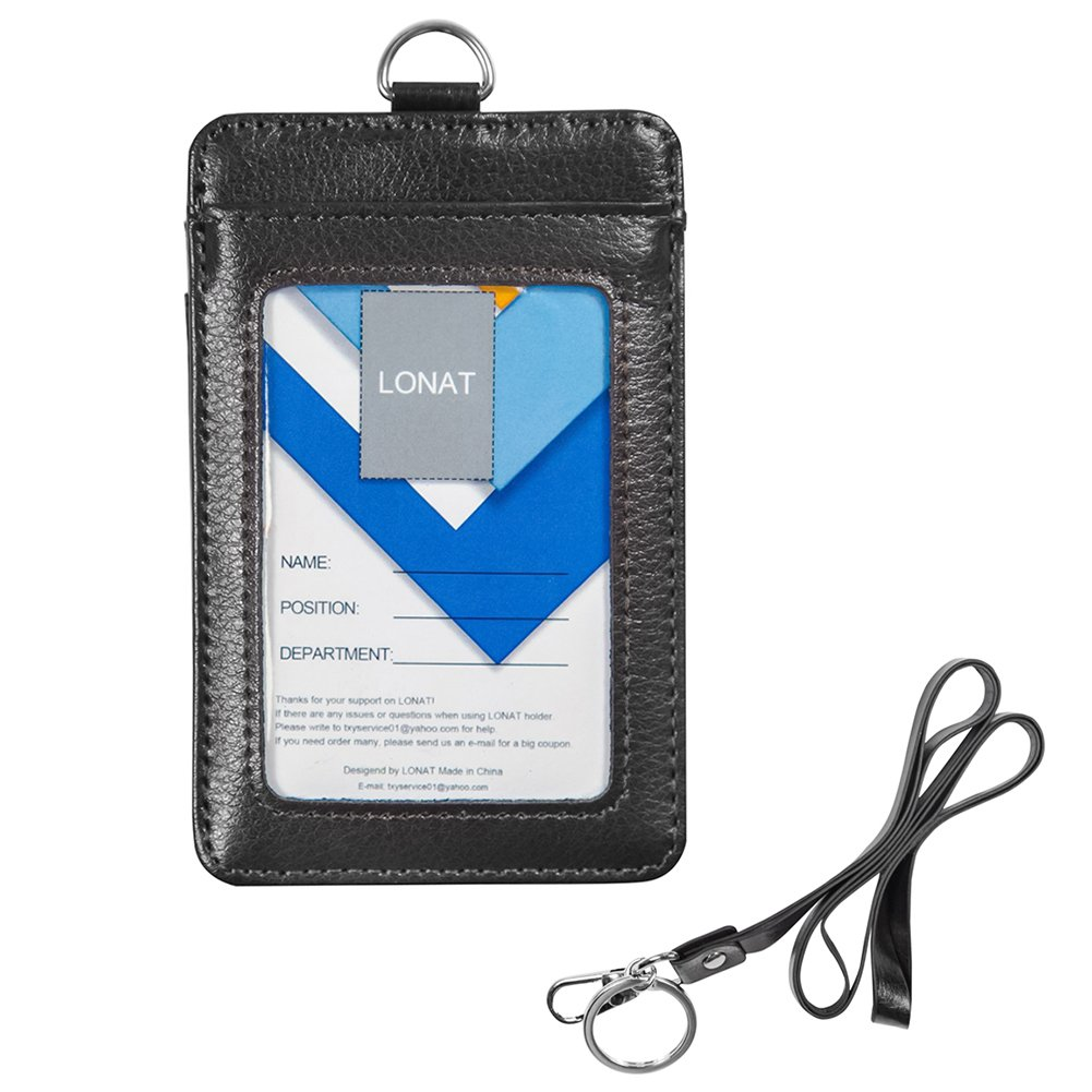 Badge Holder, Double Sided Genuine Leather Work ID Badge Card Holder with Lanyard, 3 Card Slots and RF Shield for Offices ID, School ID, Driver Licence (Black)