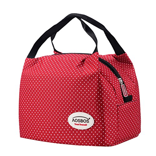 Aosbos Reusable Insulated Lunch Box Tote Bag (Macloon White) (Bag Tote Health Bag)