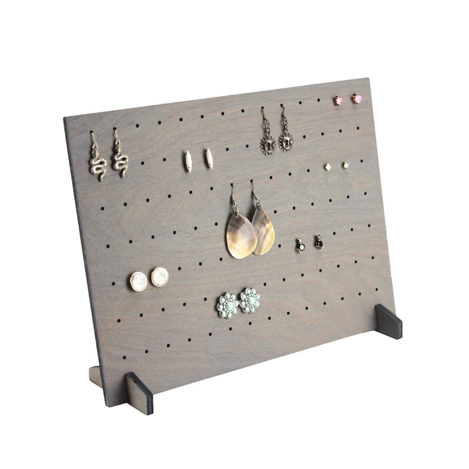 Earring Display Stand Stud Wood Display Made in USA Fully Collapsible for Craft Show and Retail Boutique Rustic Wood Jewelry Stud Display Gray