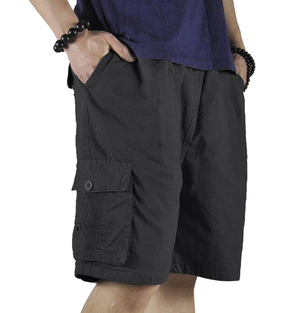 YangguTown Men's Cargo Elastic Waist Shorts Cotton Baseline Sports Drawstring Pants