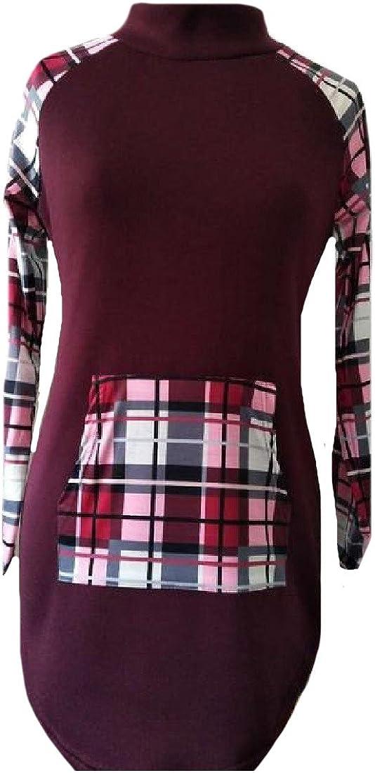 Ruhua Womens Pullover Long Sleeve Sweatshirts Plaid Contrast Blouse