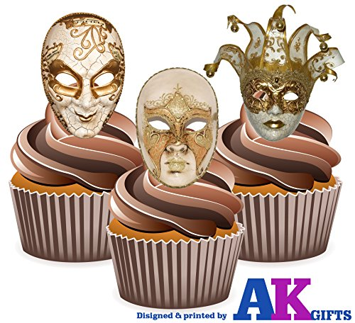 Price comparison product image AKGifts Masquerade Ball Masks,  Jester Full Face Mix - Edible Stand-up Cupcake Toppers (pack of 12)