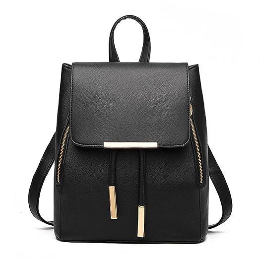Amazon.com  Women Leather Shoulder Bag Travel Camping Backpacks Schoolbags  (Black)  Clothing cc18cf6e3