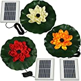 Sunnydaze Set of 3 Floating Lotus Flower Solar Power Water Fountain Kits, 48 GPH, Red, White, and Orange