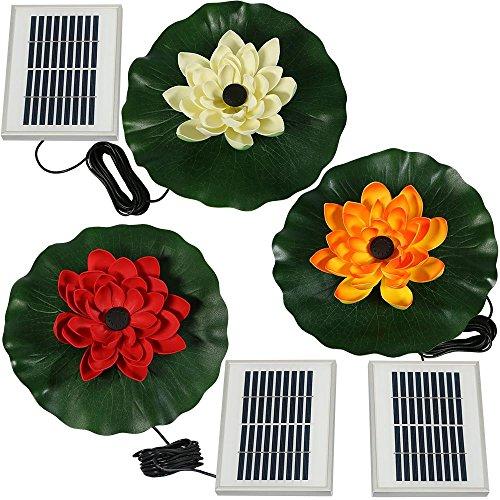 Sunnydaze Set of 3 Floating Lotus Flower Solar Power Water Fountain Kits, 48 GPH, Red, White, and Orange by Sunnydaze Decor
