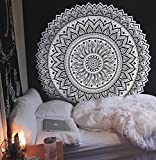 HOLY HOME Tapestry Mandala Round Sunflower White and Black Visual Impact Indoor Art Décor Multipurpose Tablecloth/Bedspread/Ceiling/Beach Towel/Yoga mat/Divider/Wrap Dress 60x80in