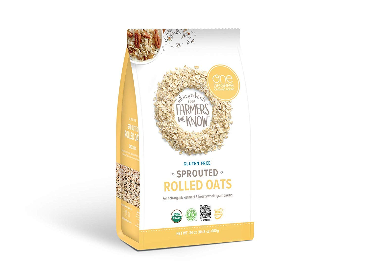 One Degree Organic Foods Gluten-Free Sprouted Rolled Oats, 24 Ounces (4 Packs)