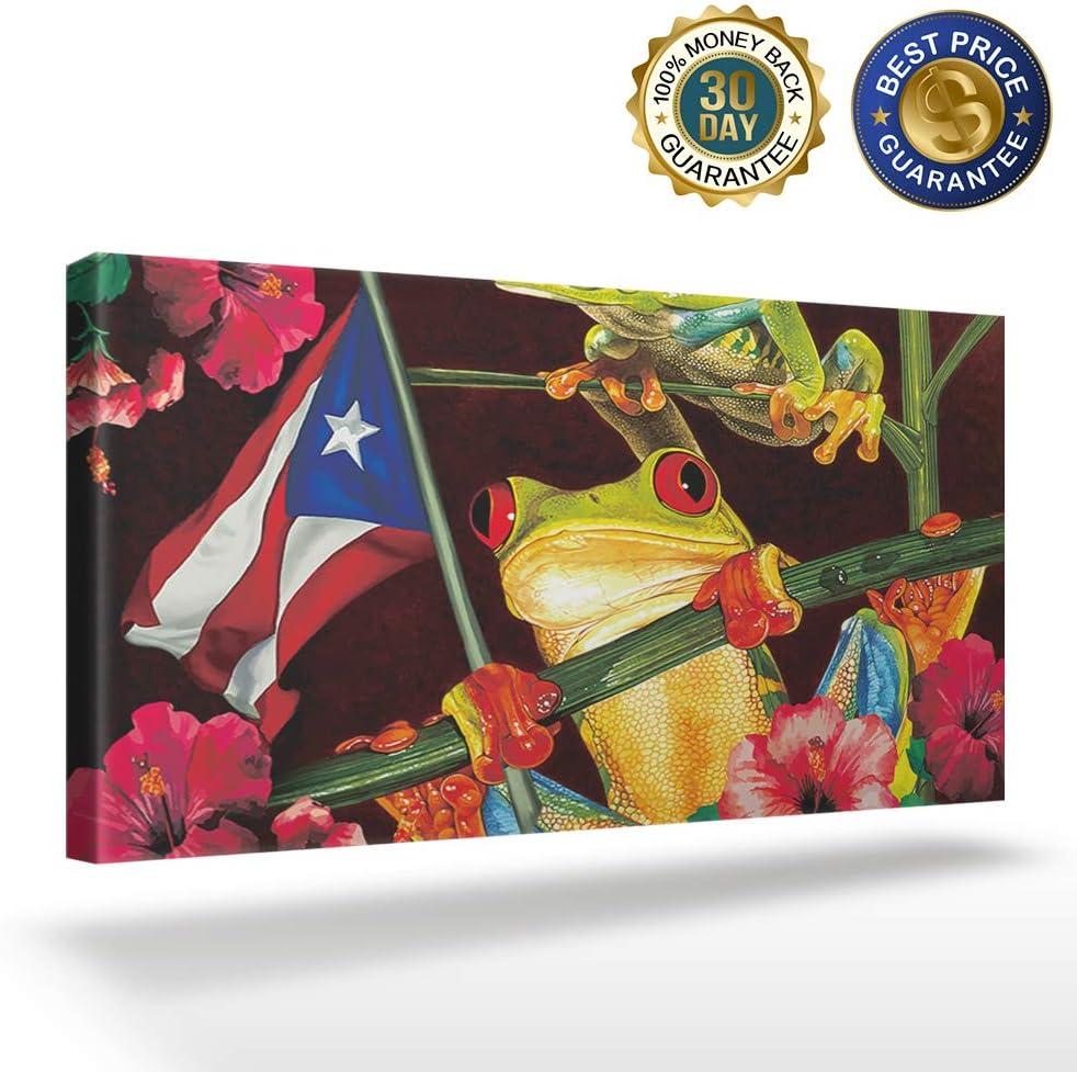 Canvas Print Wall Art Frog in Flower Puerto Rico Flag Picture Painting Modern Giclee Framed Artwork for Office/Livingroom/Bedroom Decor 12x24in