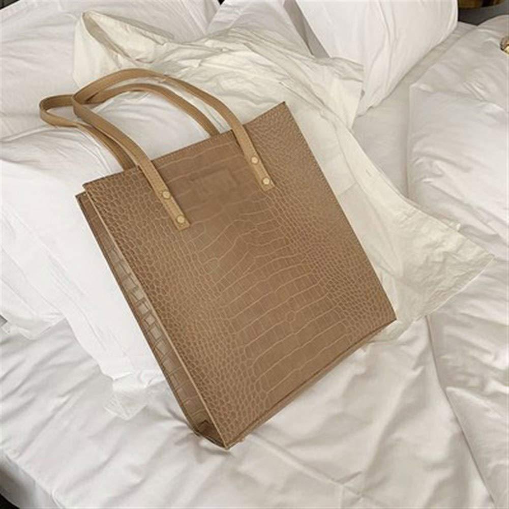 ZYSTMCQZ Mode Krokodil Mönster Kvinnor handväska läder damer handväskor lyxiga handväskor Designer axelremsväska för kvinnor (Color : Pink) Black
