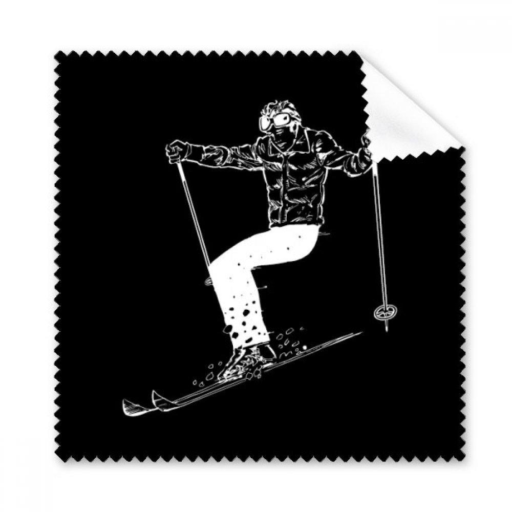 ブラック冬スポーツスキーパターン眼鏡布クリーニングクロスギフト電話画面クリーナー5点   B0761SV2ZZ